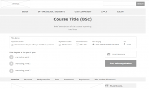Course page for unspecified university
